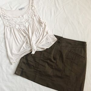DKNY Brown Button Up Skirt